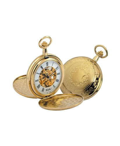 Mechanical Gold Plated Full Hunter Pocket Watch With Chain